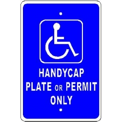 Handicap Permit Only Sign