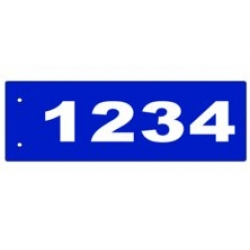 B - 6 x 18 BLUE Horizontal Reflective Address Sign CENTERED EDGE MOUNT