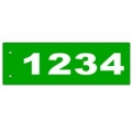 B - 6 x 18 GREEN Horizontal Reflective Address Sign CENTERED EDGE MOUNT